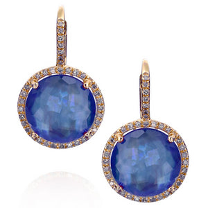 Sapphire, Mother of Pearl, & Quartz Triplet Earrings with Diamond Halo in Yellow Gold