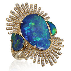 Freeform Natural Opal Sunburst Diamond Cocktail Ring in Yellow Gold