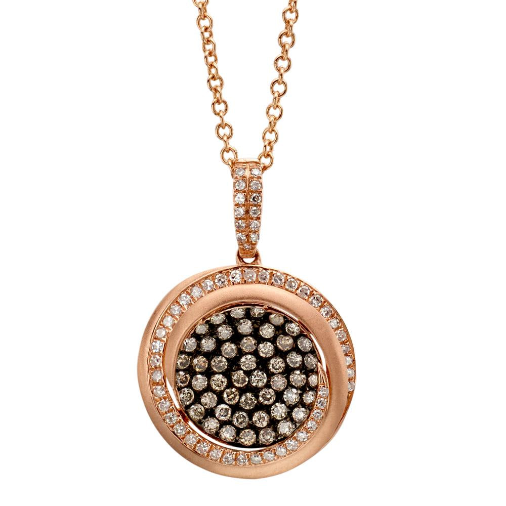 Champagne Diamond Round Cluster Pendant Necklace 14K Rose Gold .84 carats