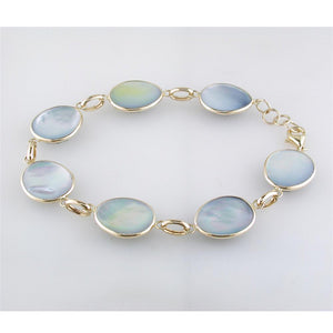 Sapphire, Mother of Pearl, & Quartz Triplet Oval Link Bracelet in Yellow Gold