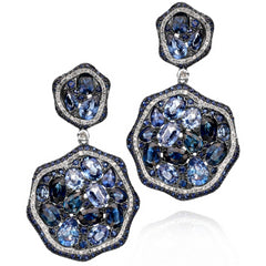 Blue Sapphire & Diamond Freeform Style Circular Double Drop Dangle Earrings 14K