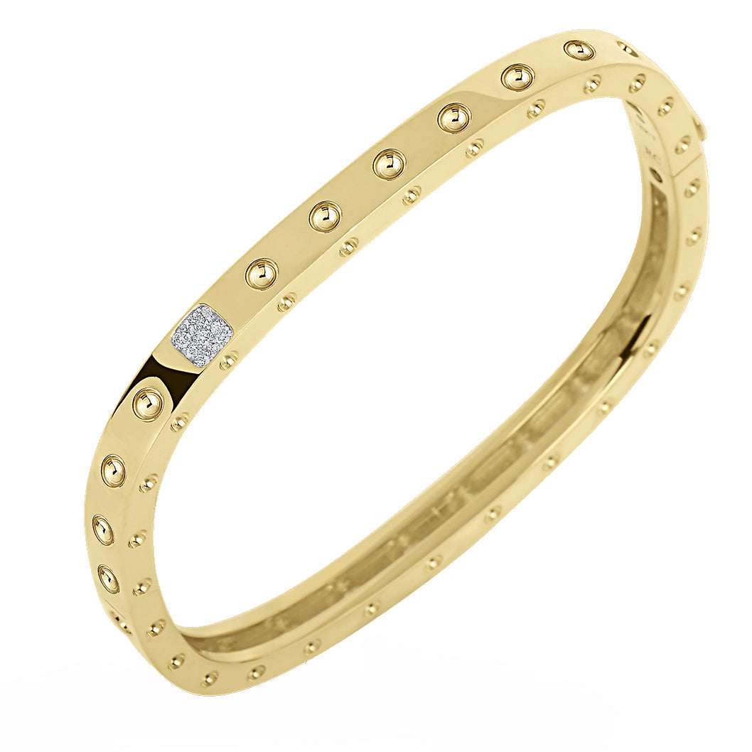 Roberto Coin Pois Moi 18K Yellow Gold Single Row Diamond Cuff Bracelet
