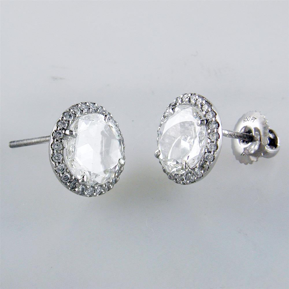 Rose Cut Diamond Stud Halo Platinum Earrings 2.12 Carats