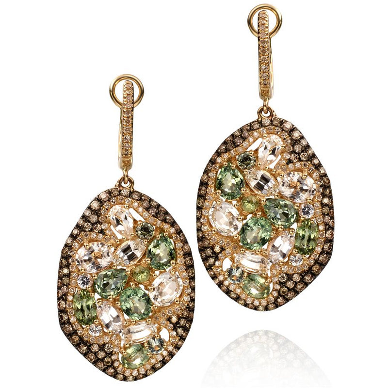 Green & Colorless Sapphire & Diamond Freeform Style Oval Drop Dangle Earrings 14K