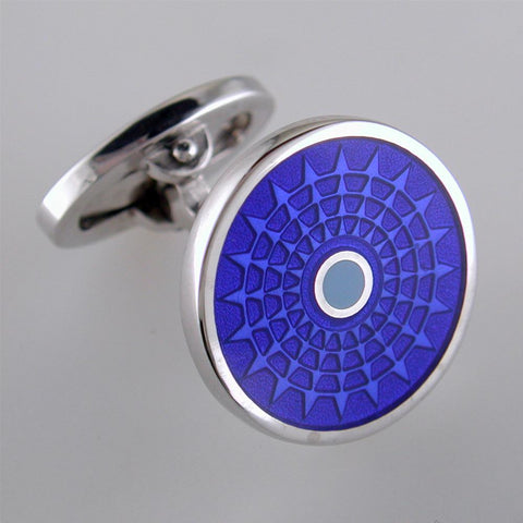Jan Leslie English Blue Enamel Ferris Wheel Sterling Silver Cufflinks