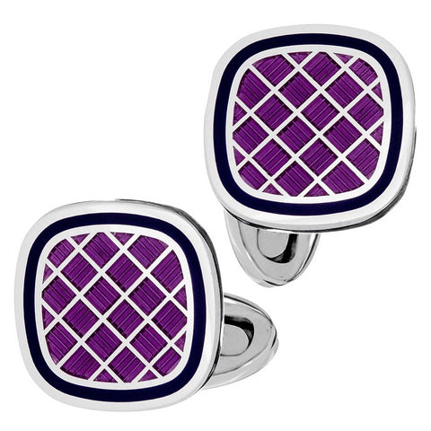 Jan Leslie Purple & Navy English Enamel Criss-Cross Square Cushion Cufflinks S1478PRNV