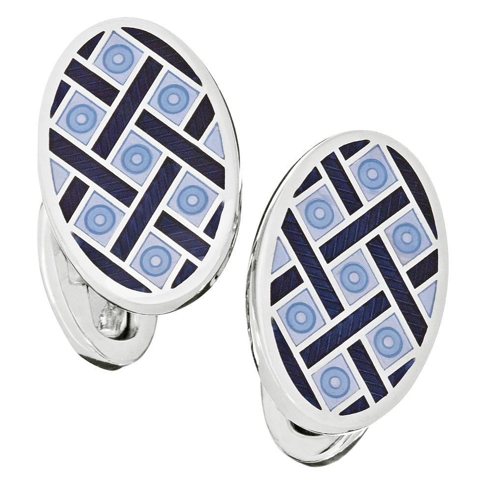 Jan Leslie Blue & Navy English Enamel Oval Criss-Cross Silver Cufflinks