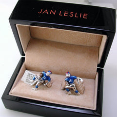 Jan Leslie NY Giants Football Player Silver With Blue Enamel Cufflinks