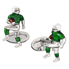 Jan Leslie New York Jets Football Player Silver With Green Enamel Cufflinks S835NYJ