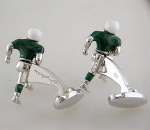 Jan Leslie New York Jets Football Player Silver With Green Enamel Cufflinks S835NYJ - Nagi Jewelers