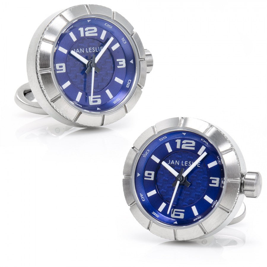 Jan Leslie Blue Sports Watch Lovers Stainless Steel Cufflinks
