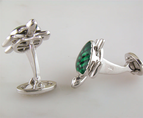 Jan Leslie Silver Turtle Cufflinks with Green Enamel S1087