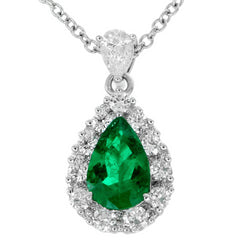 Gregg Ruth Pear Shape Emerald Diamond Halo Pendant in 18K White Gold
