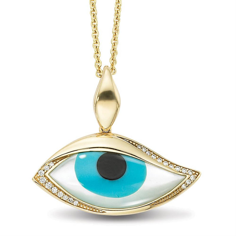 Kabana Kalo Mati 14k Yellow Gold Blue Evil Eye Diamond Pendant with Turquoise Inlay GPCF4850XTMW