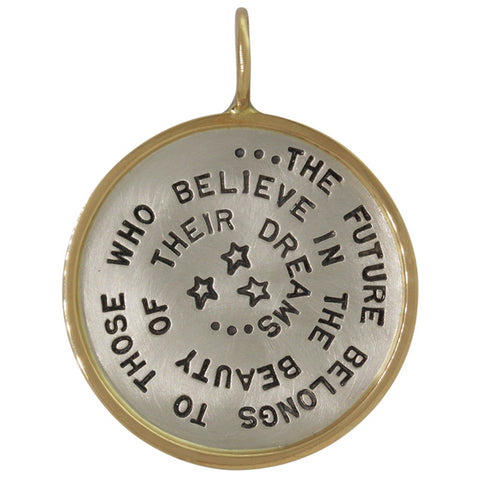 "Heather Moore Round Silver Charm Pendant ""The Future Belongs..."""