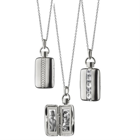 "Monica Rich Kosann Rectangular Rose-Cut Crystal Locket Pendant Necklace Sterling Silver, two photos, 30"" chain"