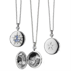 "Monica Rich Kosann Round Burst Silver Locket Pendant with Rose Cut Blue Sapphires 30"" Chain"