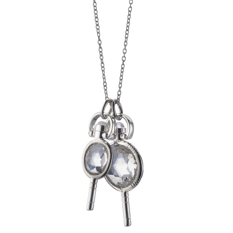 "Monica Rich Kosann Rock Crystal Miniature Pocket Watch Keys Necklace Sterling Silver Necklace 30"" Chain"