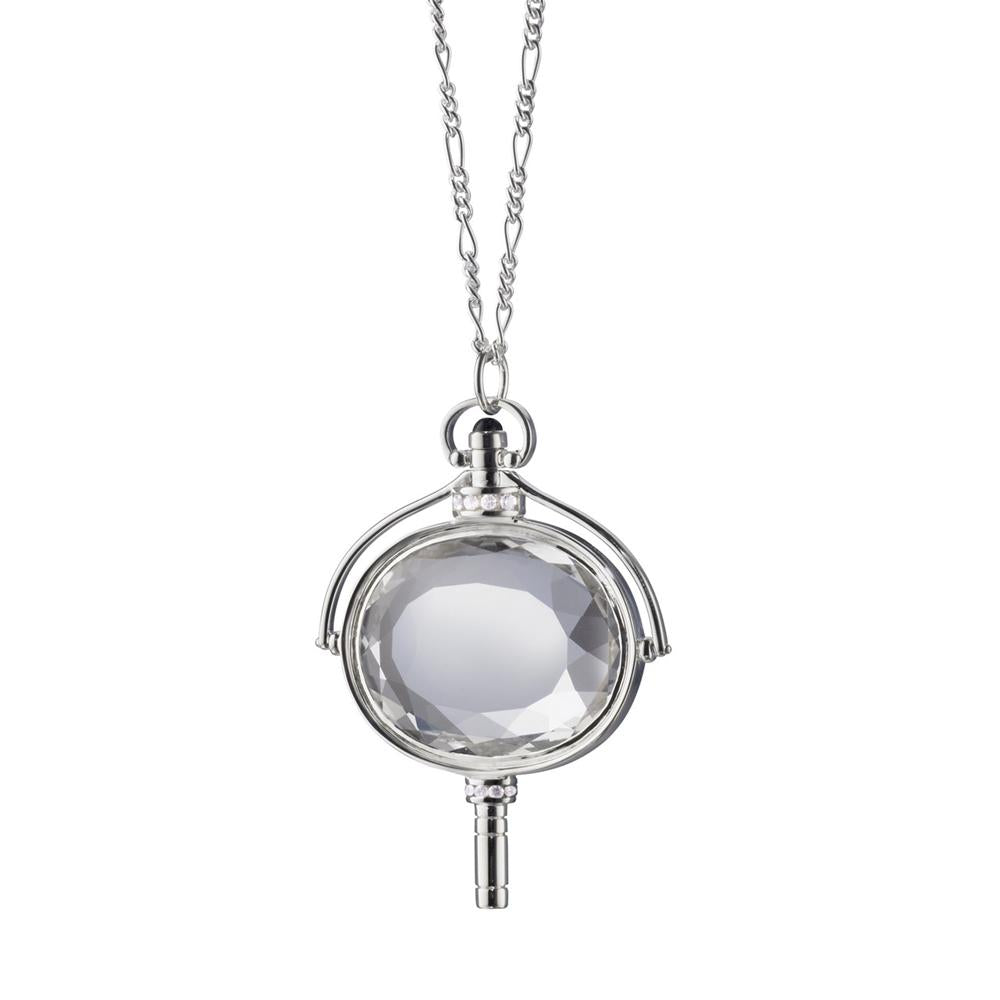 "Monica Rich Kosann Oval Pocket Watch Key Necklace Pendant Silver with Rock Crystal 36"" Chain"