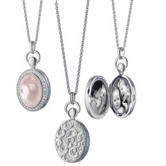 Monica Rich Kosann Rose Quartz Petite Stone Photo Locket Pendant Necklace Silver