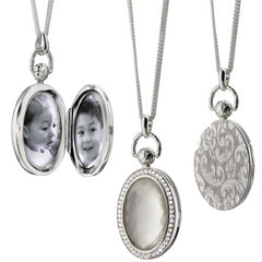 Monica Rich Kosann Sterling Silver Oval Stone Locket with Faceted Rock Crystal over Mother of Pearl