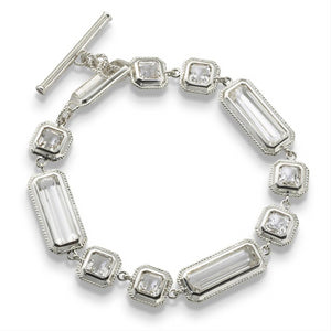 Monica Rich Kosann Mosaic Rock Crystal Sterling Silver Toggle Bracelet