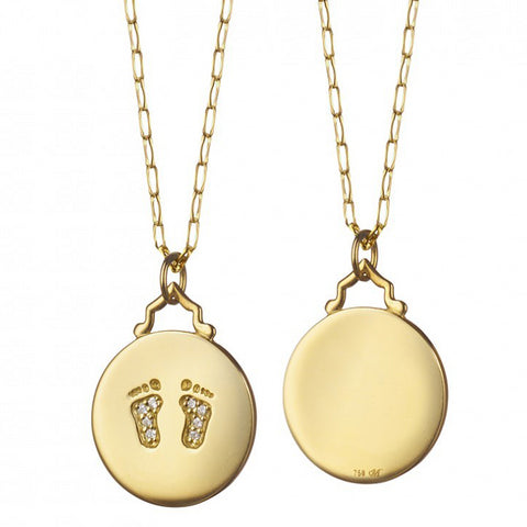 Monica Rich Kosann Baby Feet Diamond Footprints Charm Pendant Necklace Yellow Gold CH-41300-17