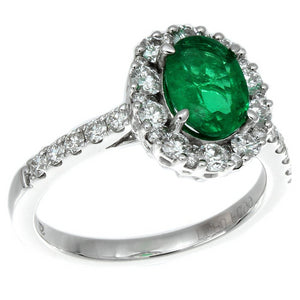 Gregg Ruth Oval Emerald Diamond Halo Color Crown Collection 18K White Gold Ring