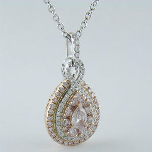 Gregg Ruth Fancy Pink Pear Shape Diamond Pendant Necklace 18K White & Rose Gold