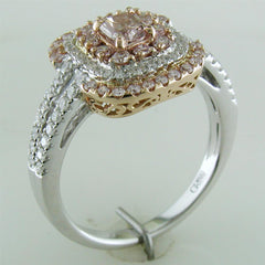 Gregg Ruth Fancy Pink Cushion Diamond Ring 18K White & Rose Gold