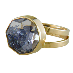 Moritz Glik 18K Yellow Gold Ring with Loose Blue Sapphires Enclosed in White Sapphires