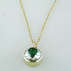 Moritz Glik 18K Yellow Gold Round Necklace Pendant Enclosed Loose Emeralds