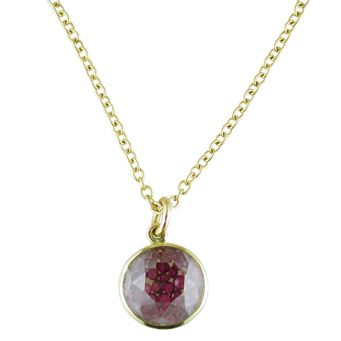 Moritz Glik 18K Yellow Gold Round Necklace Pendant Enclosed Loose Ruby