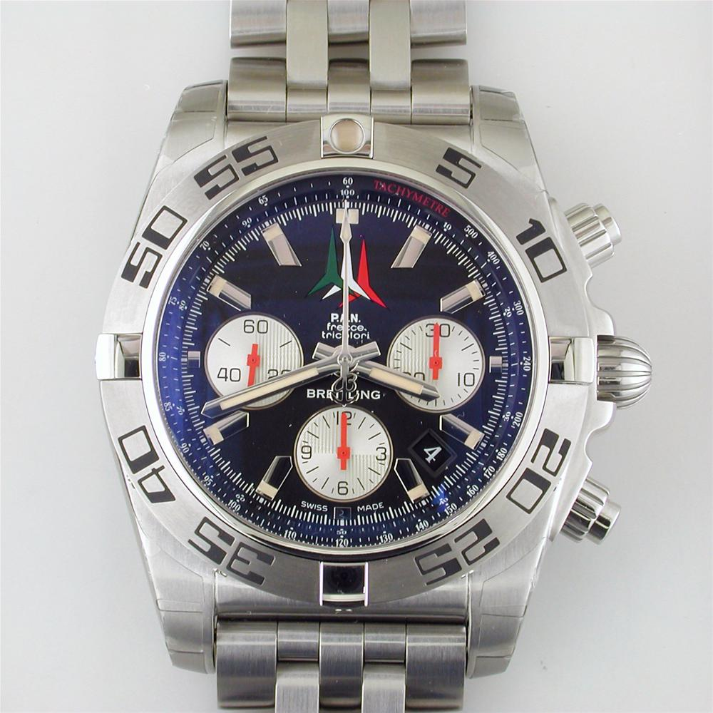 Certified Pre-owned Breitling Chronomat 44mm Frecce Tricolori Watch AB01104D Limited Black Steel