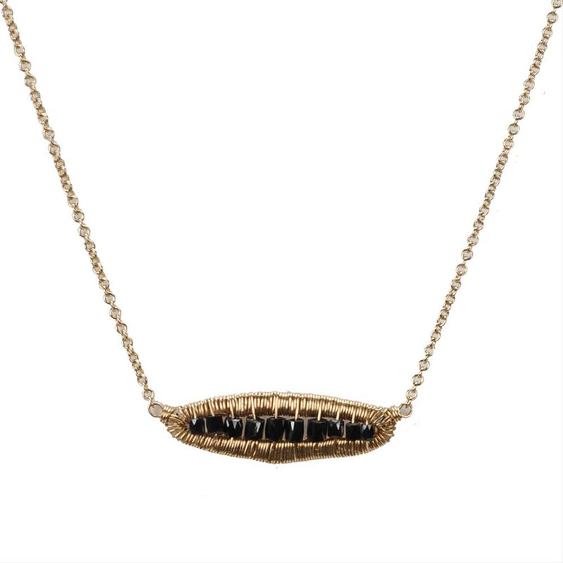 Dana Kellin Black Diamond Horizontal Pendant Necklace 14K Yellow Gold Wrapped Wire 16