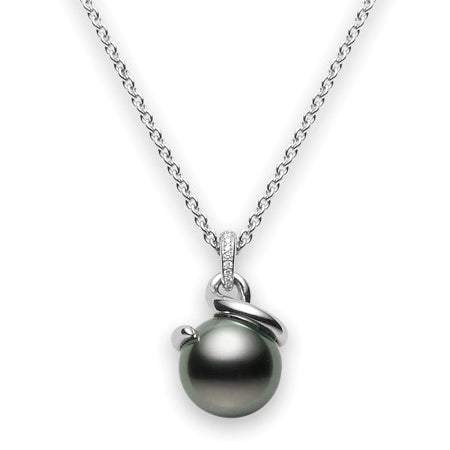 Mikimoto Twist Black South Sea Pearl & Diamond Pendant Necklace
