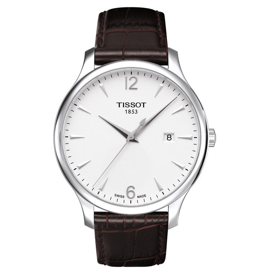 Tissot T-Classics Tradition Quartz Mens White Dial Brown Leather 42MM Watch