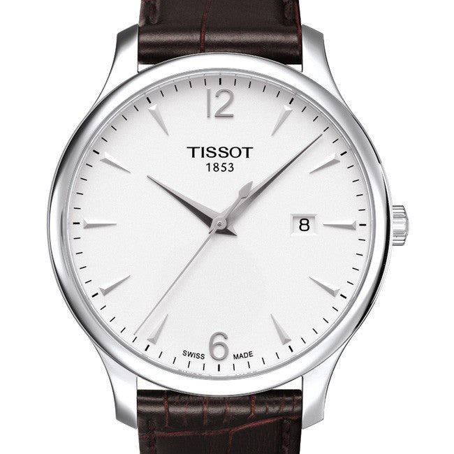 Tissot tradition classic mens watch with a brown leather strap