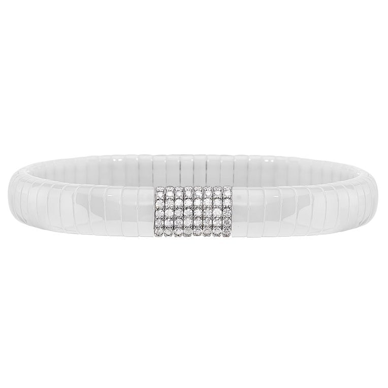 Roberto Demeglio Pura White Ceramic Bracelet 8 Diamond Section White Gold GC4B1DBOB
