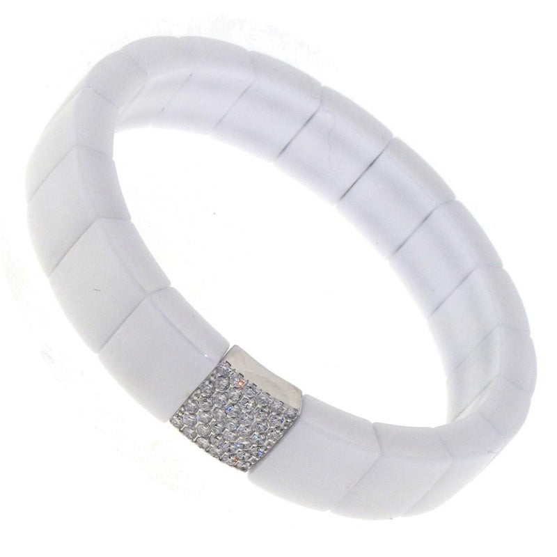 Roberto Demeglio Domino White Ceramic Single Row 11mm Wide Bracelet with Diamonds