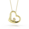 Roberto Coin TINY TREASURES DIAMOND MEDIUM HEART NECKLACE Pendant Yellow Gold