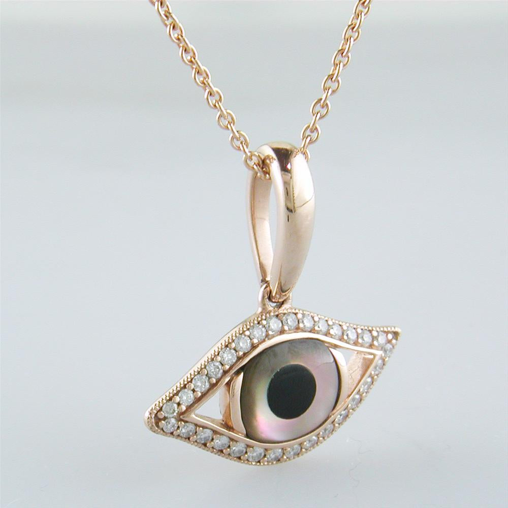 Kabana evil eye pendant necklace kalo mati 14k rose gold with mother kabana evil eye pendant necklace kalo mati 14k rose gold with mother of pearl onyx aloadofball Images