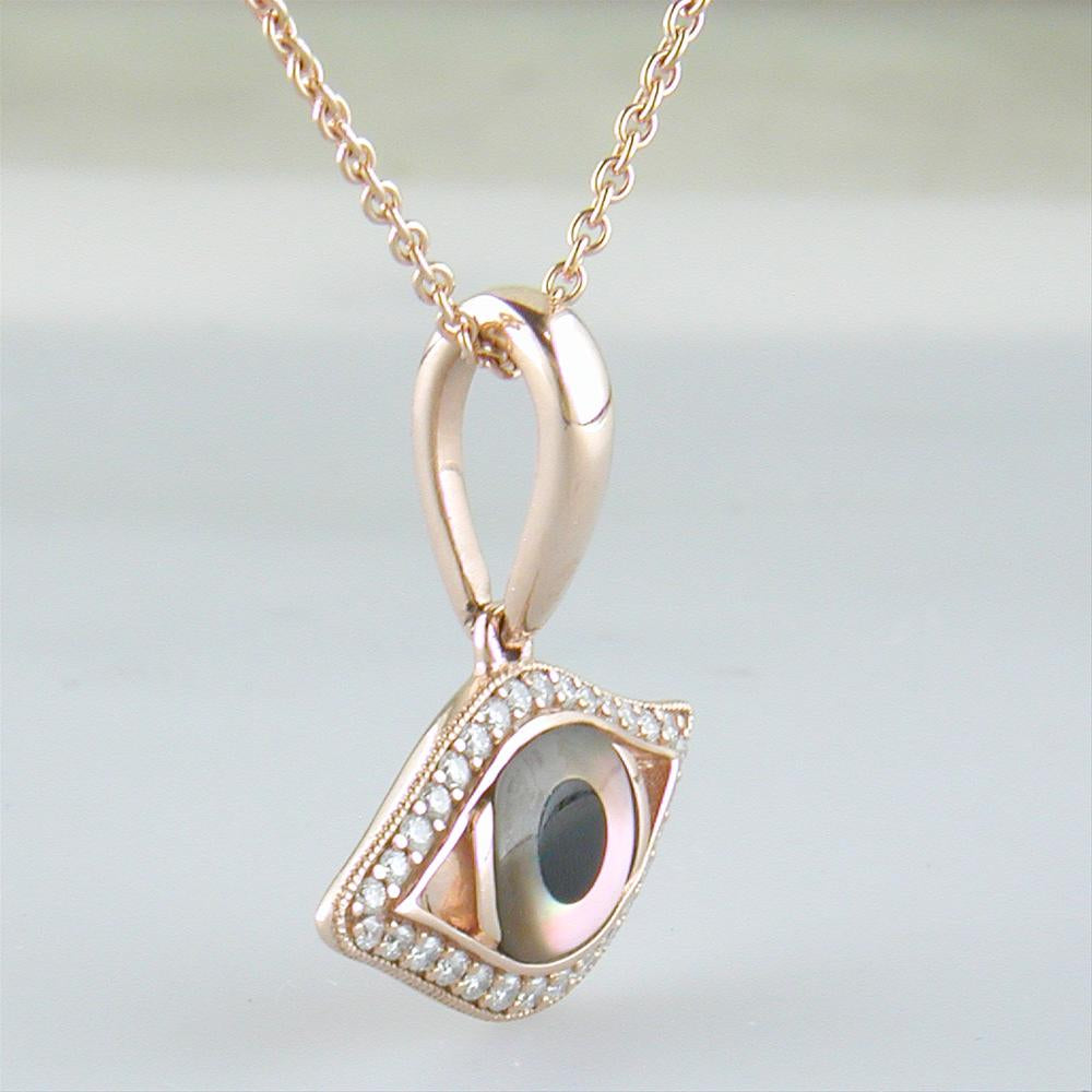 Kabana Evil Eye Pendant Necklace Kalo Mati 14k Rose Gold with Mother of Pearl & Onyx Inlay