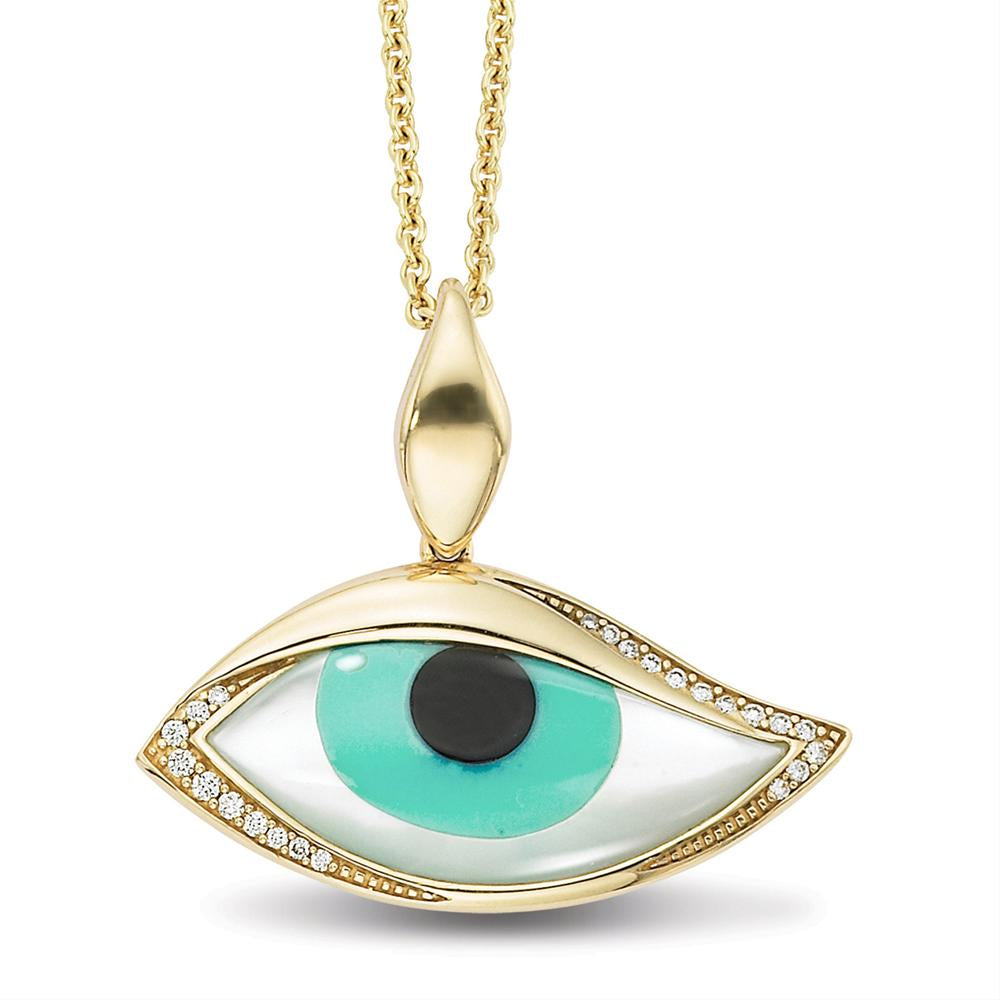 Kabana Kalo Mati 14k Yellow Gold Green Evil Eye Diamond Pendant with Inlay GPCF4850XCPMW