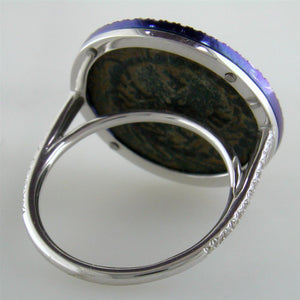 "1884 ""Maximiliano Erocole Period 286-305 A.D."" Original Bronze Coin Ring 18K White Gold  Blue Titanium with Diamonds"