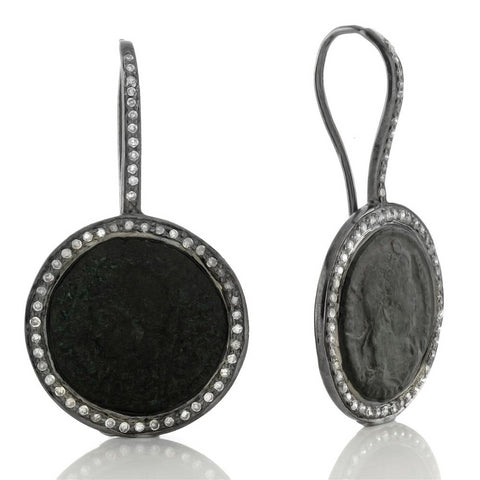 "1884 ""Faustina III Period 156-175 A.D."" Original Bronze Coin Earrings in Sterling Silver with Diamonds"