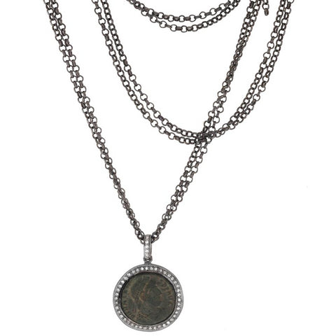 "1884 ""Valente Period 360-378 A.D."" Original Bronze Roman Coin Sterling Silver Pendant with Diamond Halo Necklace"