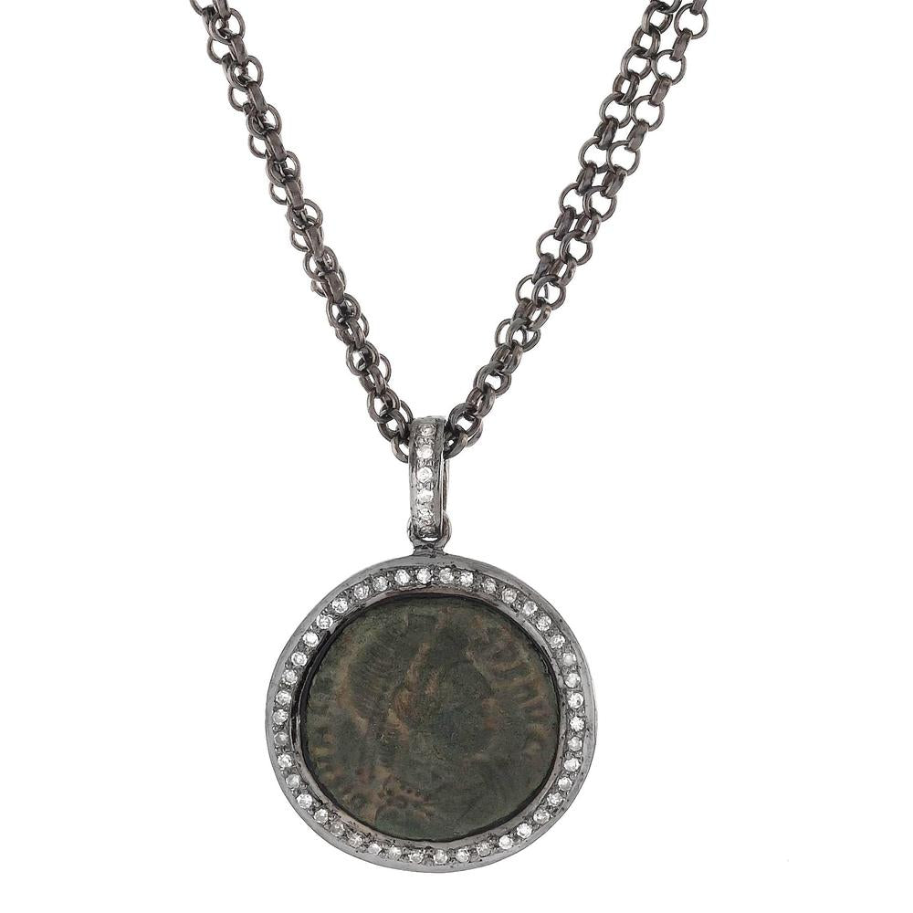 "1884 ""Valente Period 360-378 A.D."" Original Bronze Roman Coin Sterling Silver Pendant with Diamond Halo Necklace Made in Italy"