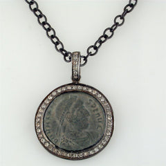 "1884 ""Valente Period 360-378 A.D."" Original Bronze Roman Coin Sterling Silver Pendant with Lobster Claw Clasp"