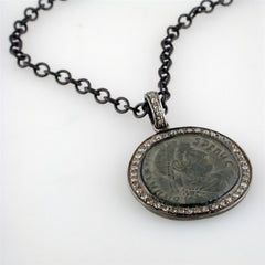 "1884 ""Valente Period 360-378 A.D."" Original Bronze Roman Coin Blackened Sterling Silver Pendant with Diamond Halo Necklace"